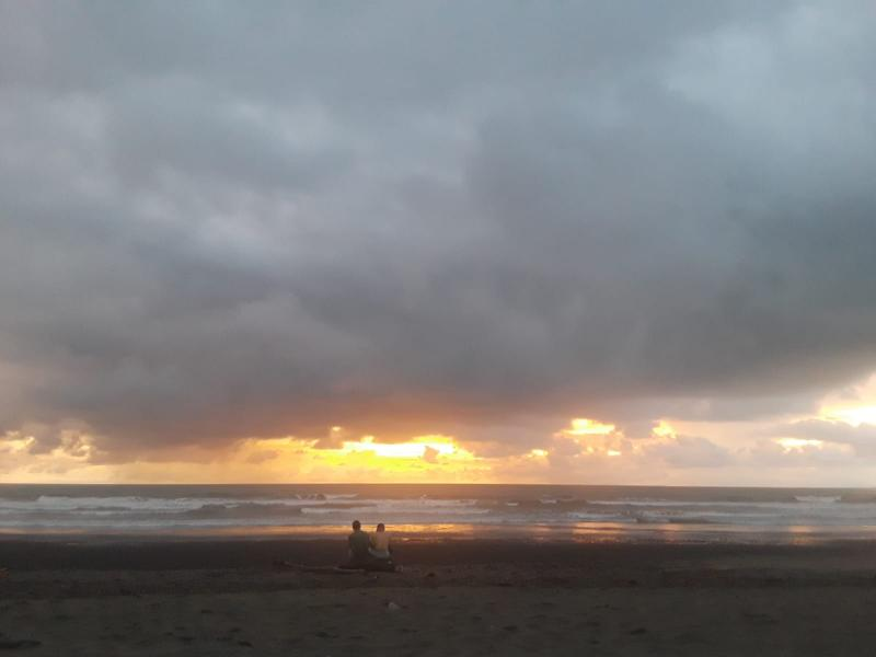 The beach sunset