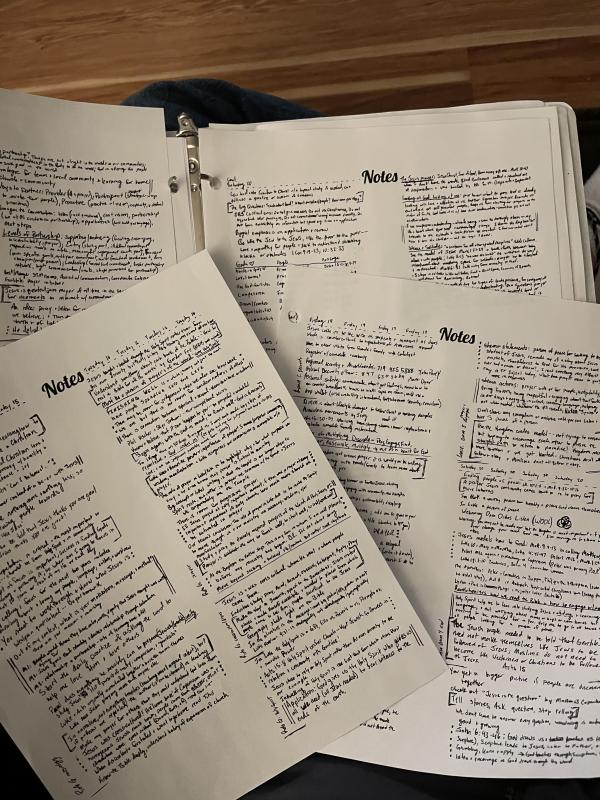 Four staggered pages of handwritten notes, in small script in two columns on each page.